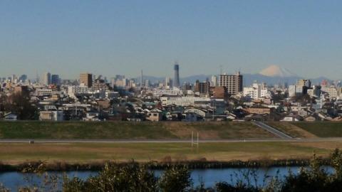 東京タワーと建設中のスカイツリーと富士山