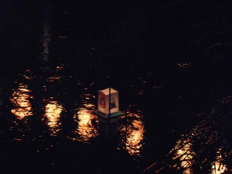 川面に映る提灯の列を横切って