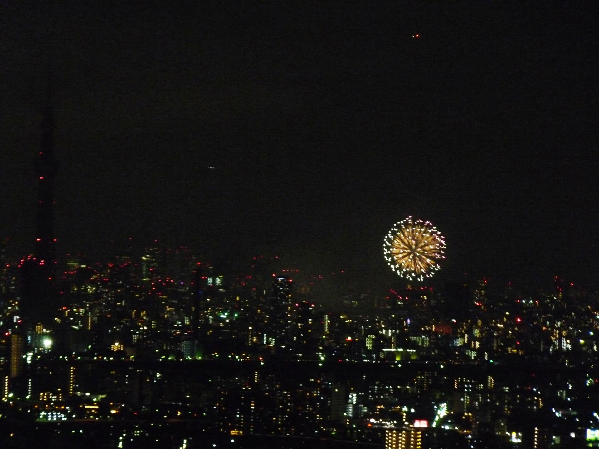 スカイツリーと隅田川の花火