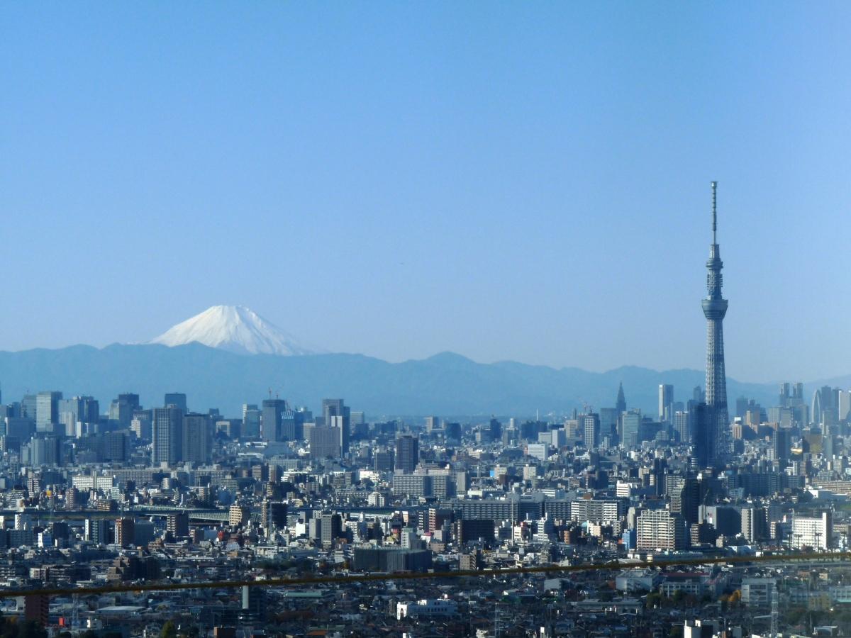 富士山とスカイツリーのツーショット@千葉県市川市