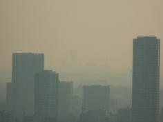 横浜方面は霞んでよく見えません
