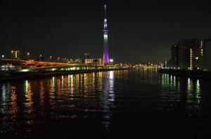 TokyoSkyTree floodlit in 'Miyabi'