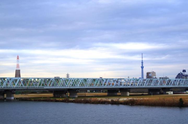 市川橋越しのスカイツリー