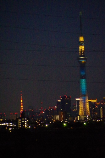 東京タワーと七夕のスカイツリー