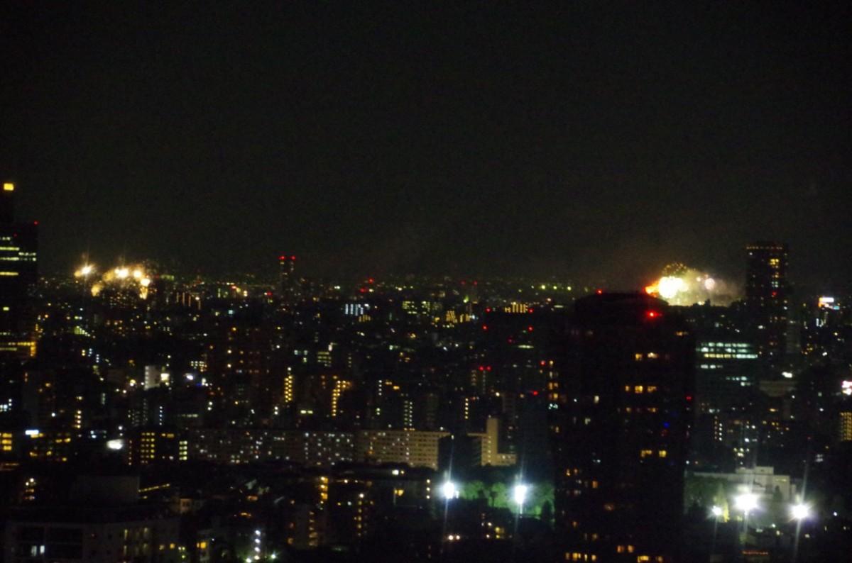 多摩川の花火大会@東京タワー