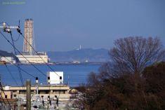 向こうには房総半島にある東京湾観音