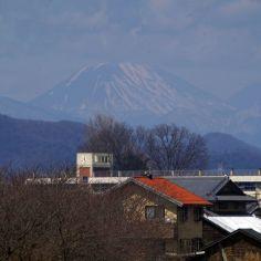 土手から見えた日光男体山