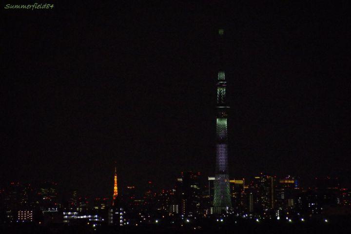 通常モードの東京タワーと咲のスカイツリー
