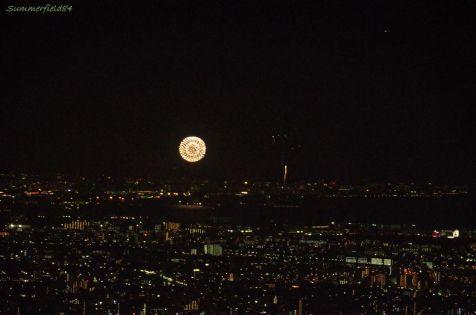 東京湾の向こうに見える幕張の花火