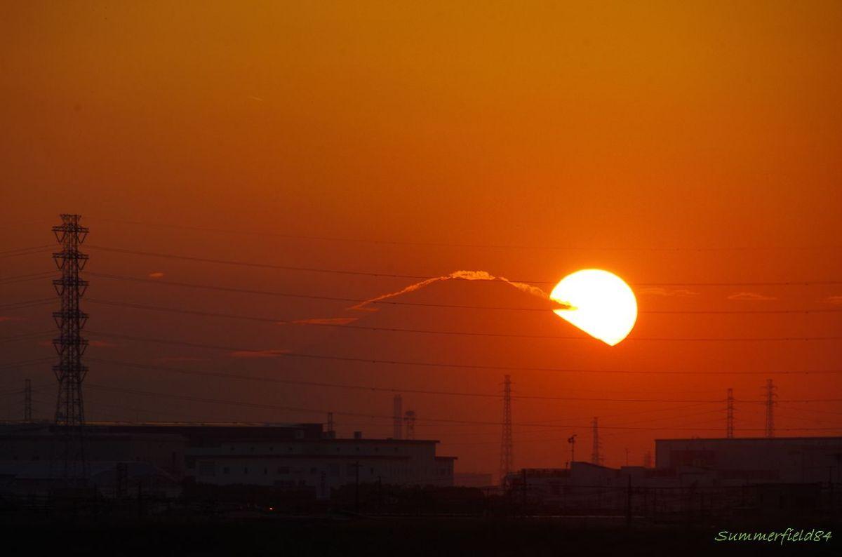 日没と富士山@千葉県流山市
