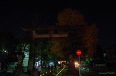参道の途中にある京成本線の踏切