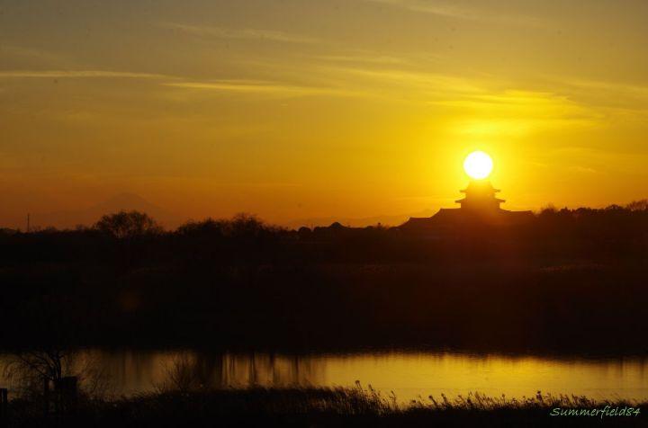 富士山と太陽と関宿城と利根川