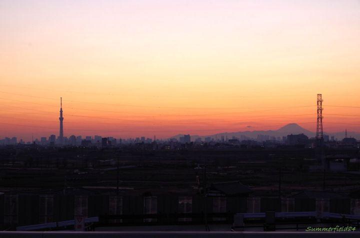 矢切富士見台歩道橋にて 左:スカイツリー、右;富士山