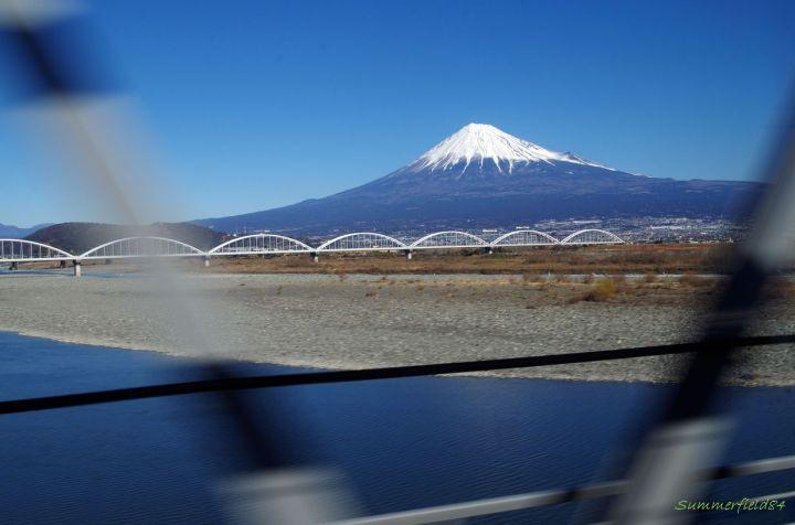 富士川鉄橋にて、逆さ富士撮影失敗