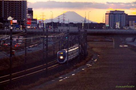 スカイライナーと富士山とスカイツリー