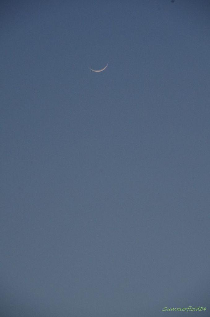細い月と金星