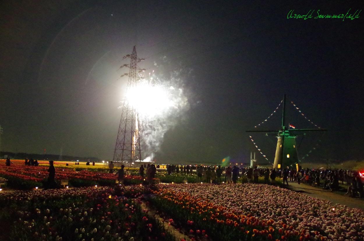 花火と風車@佐倉ふるさと広場